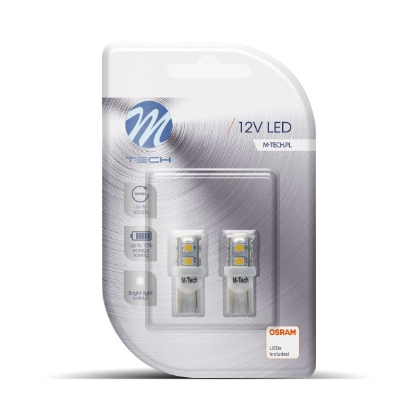 LED T10 W5W Canbus Lampjes 12V 9x SMD3528 wit
