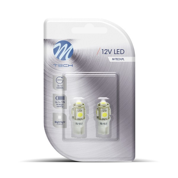 LED T10 W5W Lampjes 12v 5x SMD5050 Wit
