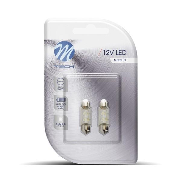 Buislampjes LED 36mm C5W/s8.5V 12v 4x 3mm Wit
