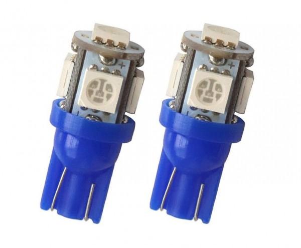 LED T10 W5W Lampjes 12v 5x SMD5050 Blauw