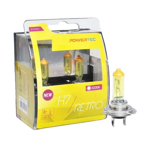 Geel Powertec Retro Yellow H7 12V DUO 3200K lampen